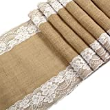 OurWarm 12x108'' Rustic Burlap Lace Hessian Table Runner Natural Jute For Wedding Festival Event Table Decoration White Lace Both Side 10pcs