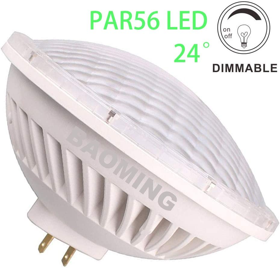 BAOMING Par56 LED Bulbs Dimmable 28W (300W Par 56 Halogen Equivalent) Soft Warm White (2700~3000K) 24°Beam Angle AC/120V GX16D Base