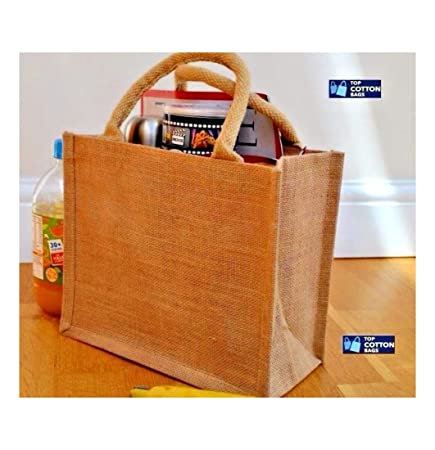 592e0f6d3 10 x Jute Hessian Mini Gift Shopping Bag with Natural Colour Cotton Corded  Handles. Laminated
