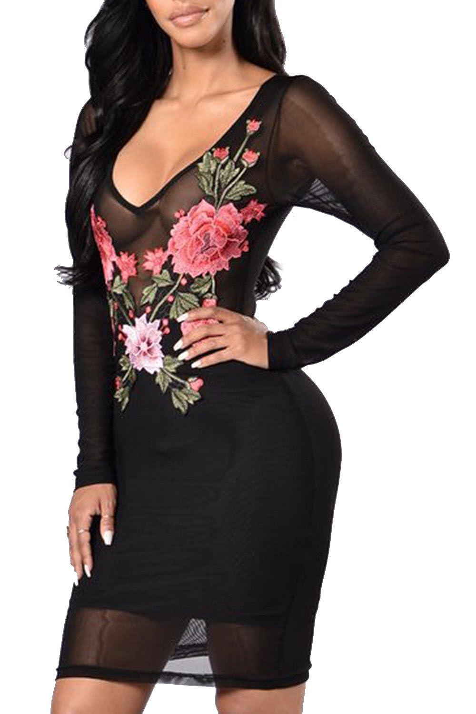 Pretid Women Sexy V Neck Floral Mesh Bodycon Slim Night Club Casual Dress