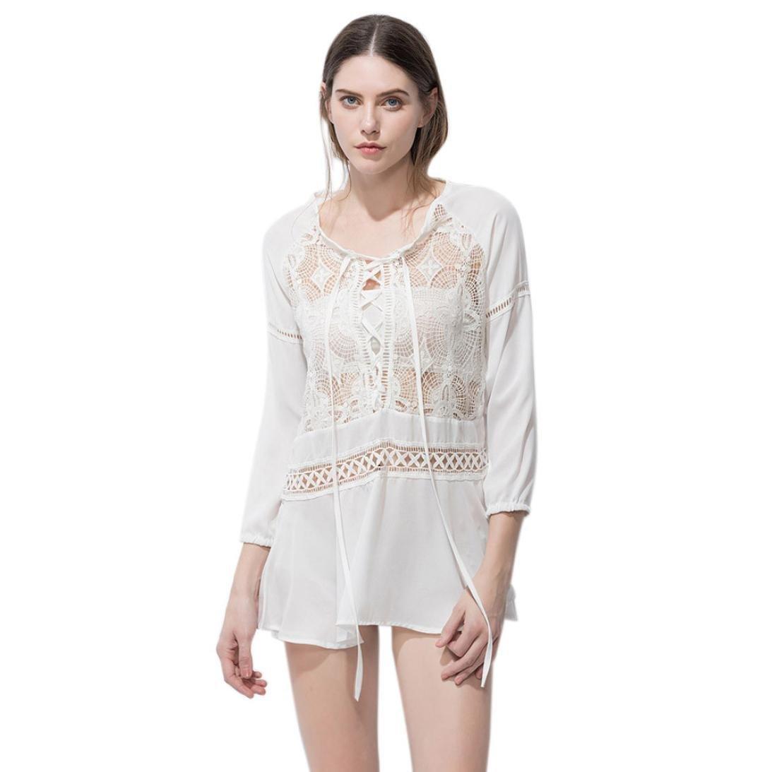 hunpta verano mujeres manga larga Hollow Out Casual encaje blusa playa Top T Shirt, blanco, extra-la...