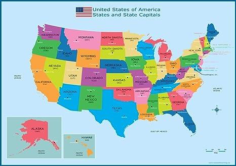 Cartina Geografica Degli Stati Uniti Di America.Mappa Degli Stati Uniti E Delle Capitali Statunitensi Formato A3 30 Cm X 42 Cm Grafico Da Parete Per Bambini Educativo Amazon It Cancelleria E Prodotti Per Ufficio