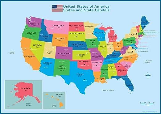 Póster con mapa político de los estados y capitales de Estados Unidos, tamaño A3 (30 cm x 42 cm): Amazon.es: Oficina y papelería