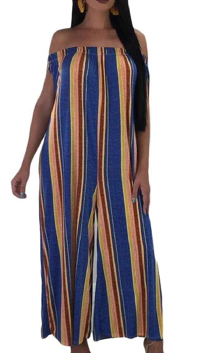 YONGM Women Casual Sleeveless Stripe Print Wide Long Pants Jumpsuit Rompers