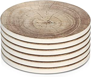 LIFVER Coasters for Drinks Absorbent, 6 Pieces Ceramic Stone Coaster Set, Coasters for Wooden Table with Cork Base,Timber Texture Pattern