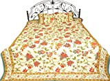 Exotic India Bedspread from Sanganer Printed Flowers Leaves - Pure Cotton Pillow Covers - Color Cream Red Color