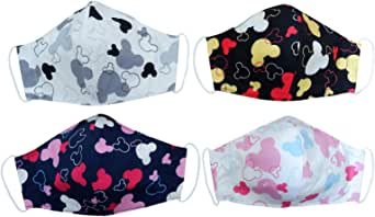 Cartoon Character Pack 4 Dust Face Protections - Adult Size Reusable Face Protection with Filter Pocket