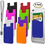 Cellphone Card Holder Back Wallet, JINYEXUAN 8 pcs Colorful Silicone 3M Adhesive Stick-on Credit Card ID Card Keeper with 2 Hang Ropes