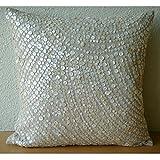 "Designer Ecru Pillow Shams, Allover Mother Of Pearl Pillow Shams, 24""x24"" Pillow Sham, Square Cotton Linen Shams, Contemporary Pillow Shams - Glazed Pearls"