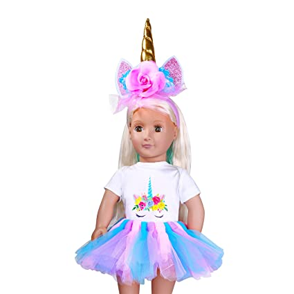 Headband Unicorn Rainbow Dress Jumpsuit Outfits for American 18 Inch Girl Doll