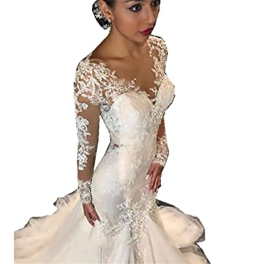 637366f388a34 Irenwedding Women's Long Sleeves Applique Lace Beads Fishtail Church  Wedding Dress Ivory US2