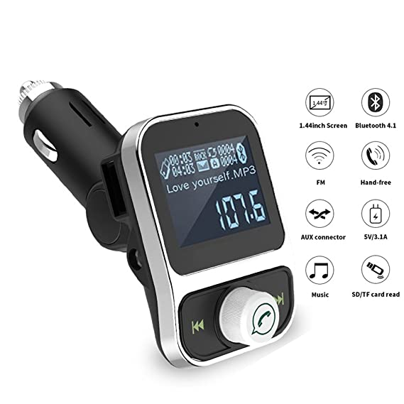 hot sale online fa46d 430c7 FM Transmitter for Car iPhone 7 plus 8 x 6s with Aux Port, Bluetooth Radio  Adapter Car Kit FM Modulator with USB Charger & Hands free Calling for ...