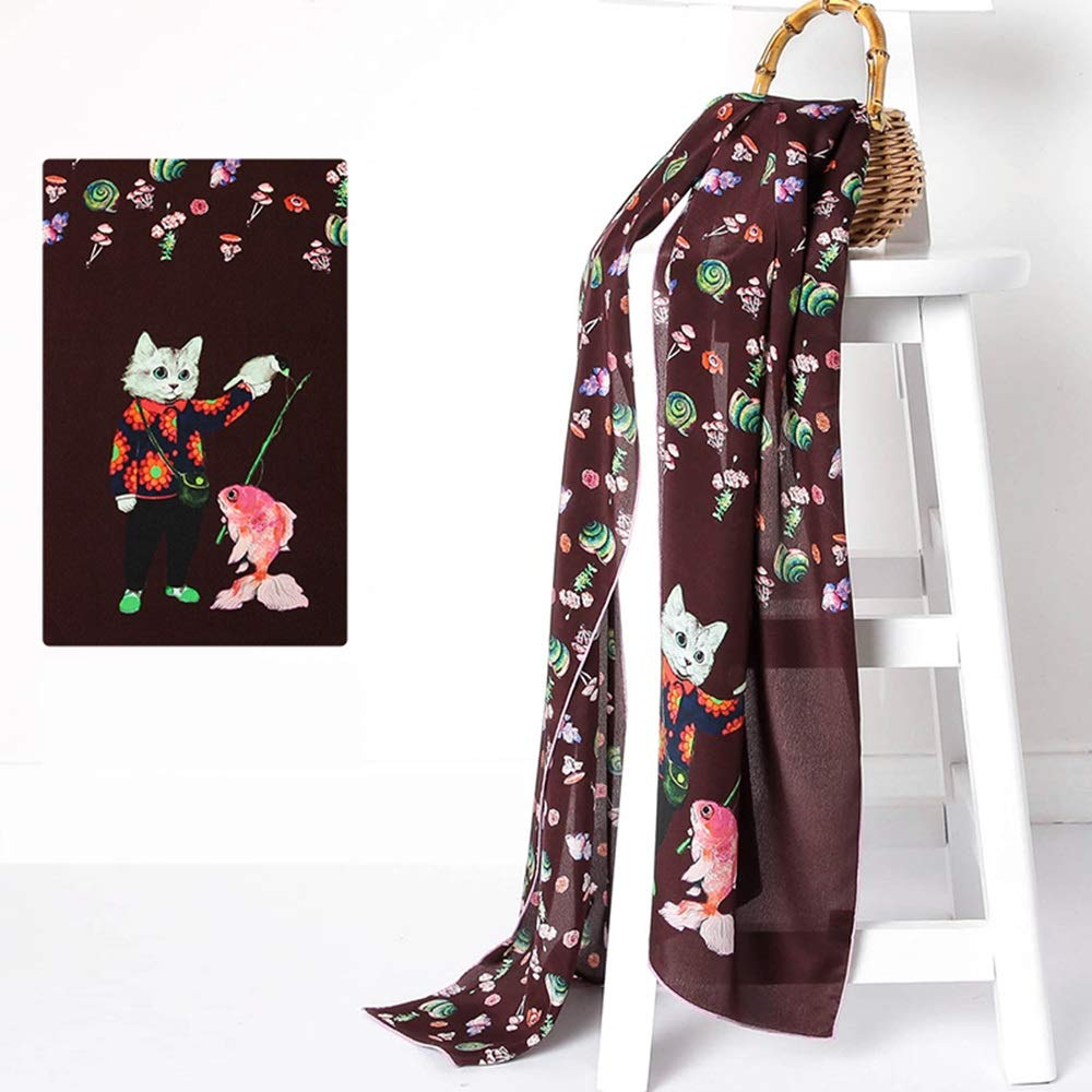 BROWN JUN Spring and Summer Ladies Shawl Soft and Comfortable Cute Printed Cartoon Silk Scarf (color   Pink)