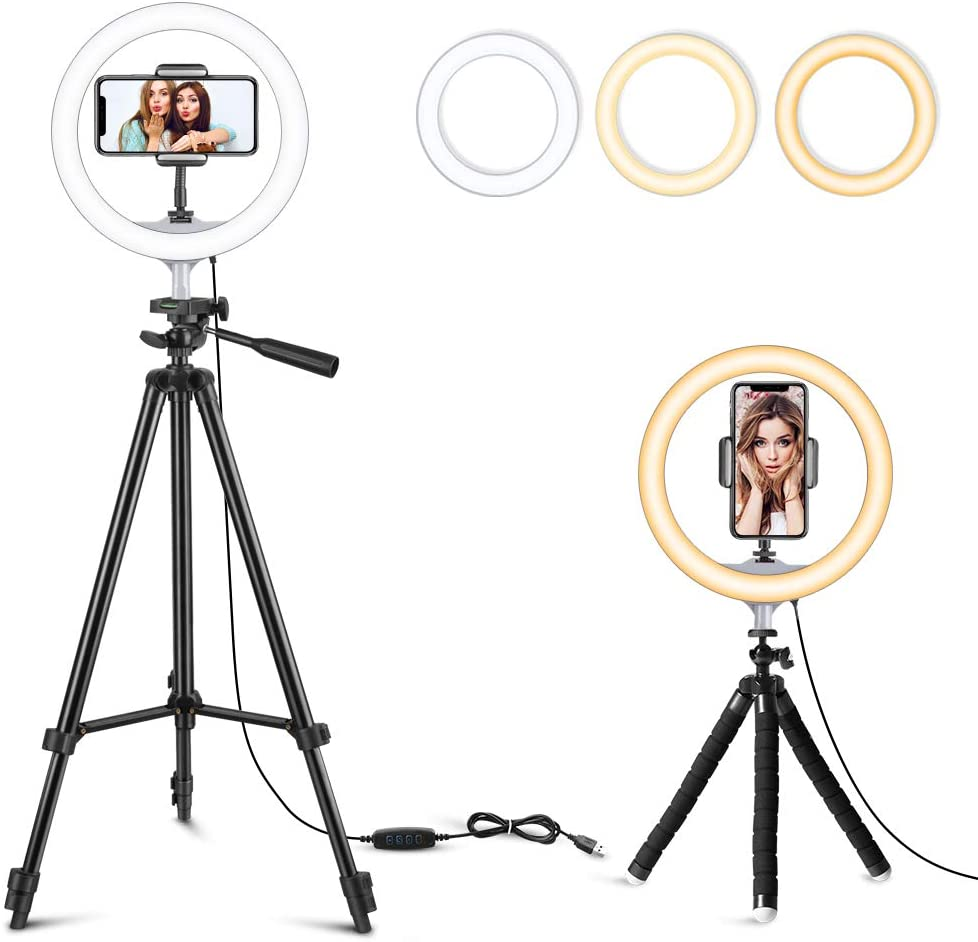 """10"""" Selfie Ring Light with 2 Tripod Stands & Phone Holder, Dimmable LED Circle Light for Makeup/Photography/YouTube Videos/Vlog/Live Streaming, Compatible with iPhone & Android"""