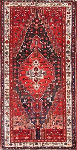 Rug Source Geometric Tribal Hand Knotted Hamedan 8 Ft Long Vintage Persian Rug Runner For Entryways (7' 11'' x 4' (Hamedan Persian Hand Knotted Rug)