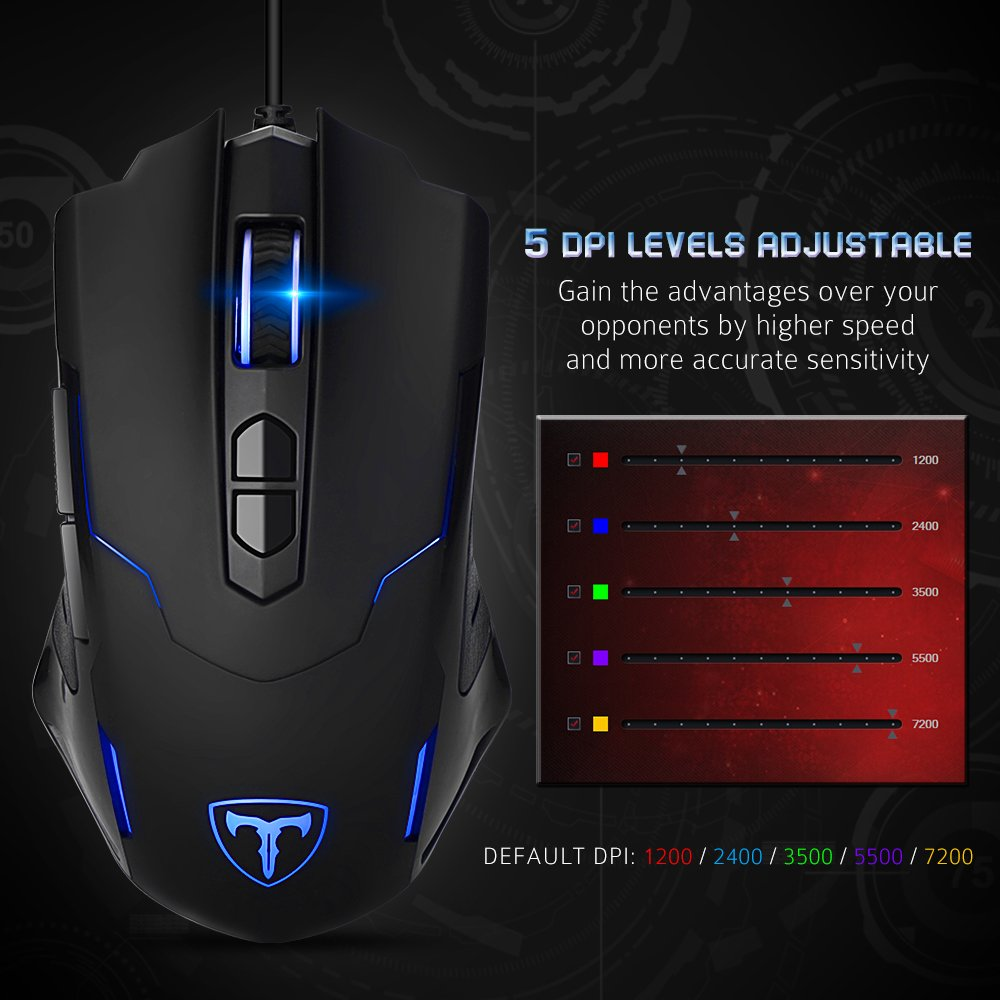 PICTEK Gaming Mouse Wired [7200 DPI] [Programmable] [Breathing Light