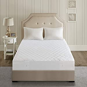 Beautyrest Cotton Blend Heated Mattress Pad Secure Comfort Technology - Luxury Quilted Electric Mattress Pad with Deep Pocket - 5-Setting Heat Controllers - 5 Years Warranty, Twin XL, White