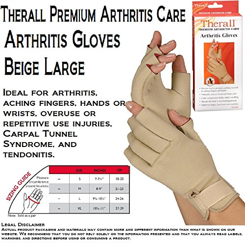 Therall Arthritis Gloves, Beige, Large