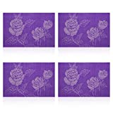 U'Artlines 4Pcs Vinyl Placemats for Dining Room Stain-resistant Eat Mats for Table,Washable Non-slip Jacquard Decor Vinyl Simple Style Place Mats-Purple Rose