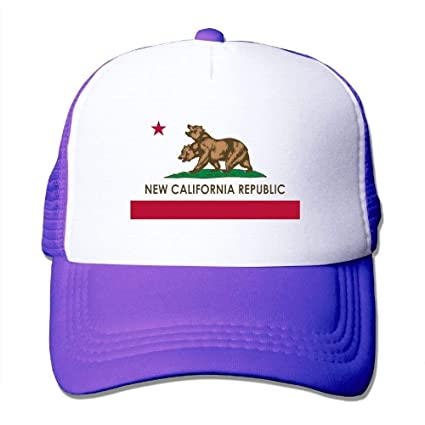 67a35eaa775 Amazon.com   GlyndaHoa New California Republic Unisex Mens Trucker Hat  Summer Mesh Cap With Adjustable Hat Snapback Strap Red   Sports   Outdoors