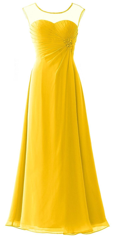 MACloth Women Cap Sleeves Chiffon Long Prom Dress Wedding Party Formal Gown