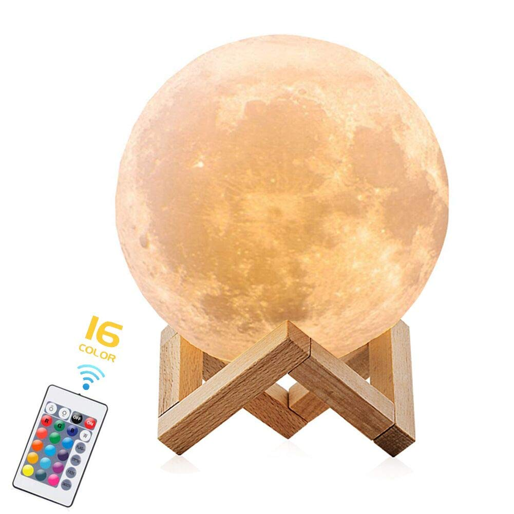 Moon Lamp, 16 Colors 3D Print LED Moon Light with Remote & Touch Control, USB Rechargeable Night Lights Home Decorative Lunar Lights for Room Decor, Creative Gift (5.9 inch)