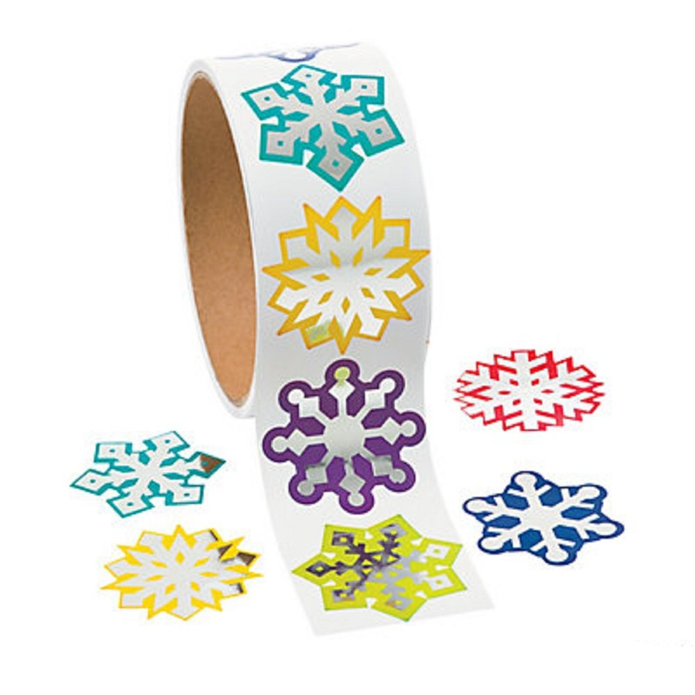 (1 roll) - Foil Snowflake Stickers - Scrapbook Crafts Christmas Snowflake Stickers (1) B00OV53Q7Y  1 roll