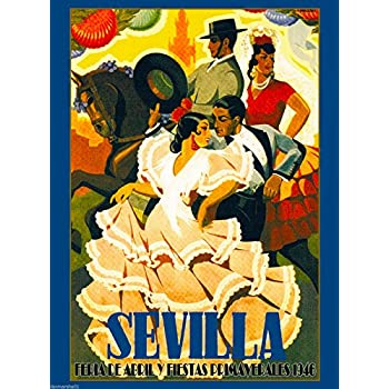 A SLICE IN TIME 1946 Sevilla Seville Spain Europe European Vintage Travel Advertisement Collectible Wall Decor Poster Print. Measures 10 x 13.5 inches