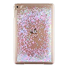 Liquid Case for Apple iPad Mini 4,Creative Design Bling Glitter Shiny Quicksand Sparkle Stars and Flowing Liquid Transparent Plastic Case for Apple iPad Mini 4(Love Heart Blue)