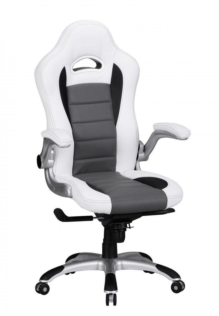 Bürostuhl weiß ohne rollen  FineBuy Bürostuhl MIKA Bezug Kunstleder Weiß Design ...