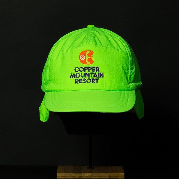 4b2a2b752ea Amazon.com  Vintage Ski Resort Hat - Copper Mountain Scrunch Back Neon Green   Clothing