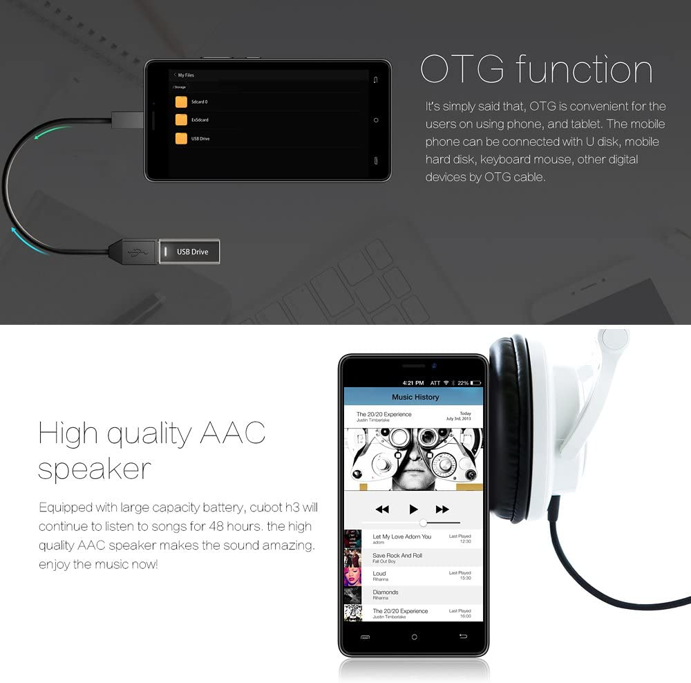 CUBOT H3 Smartphone 6000mAh 4G FDD-LTE 5 Pulgadas HD 1280 * 720P ...