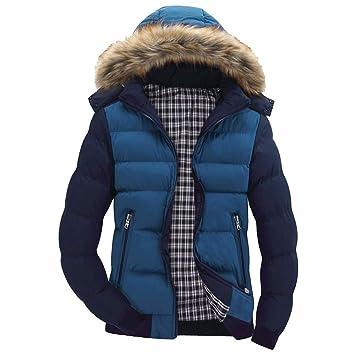 Men Winter Warm CoatMens Winter Warm Hooded Zipped Thick Solid Fleece Coat Cotton-Padded Jacket