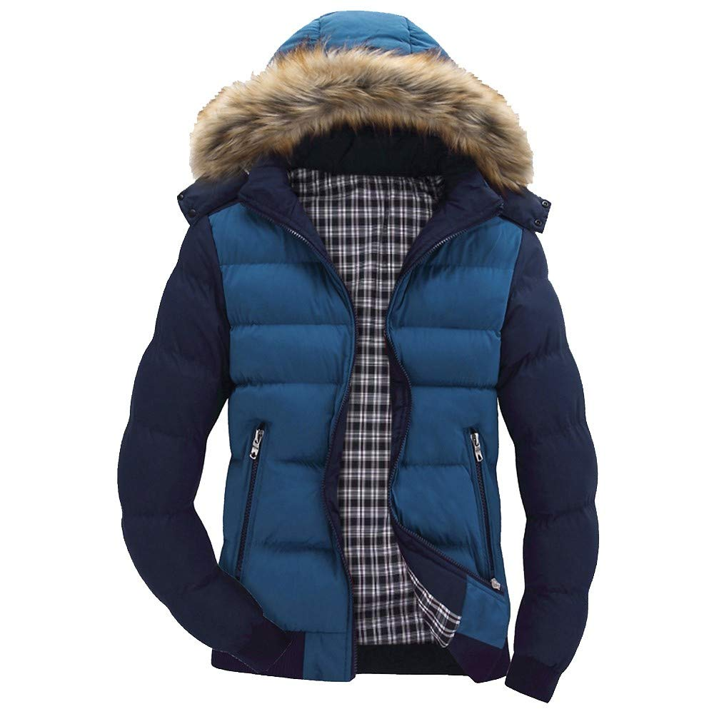 2f6bd5e9c0c BingYELH Men s Winter Snow Puffer Coats Faux Fur Hooded Thicken Padded Warm  Down Jacket Outwear