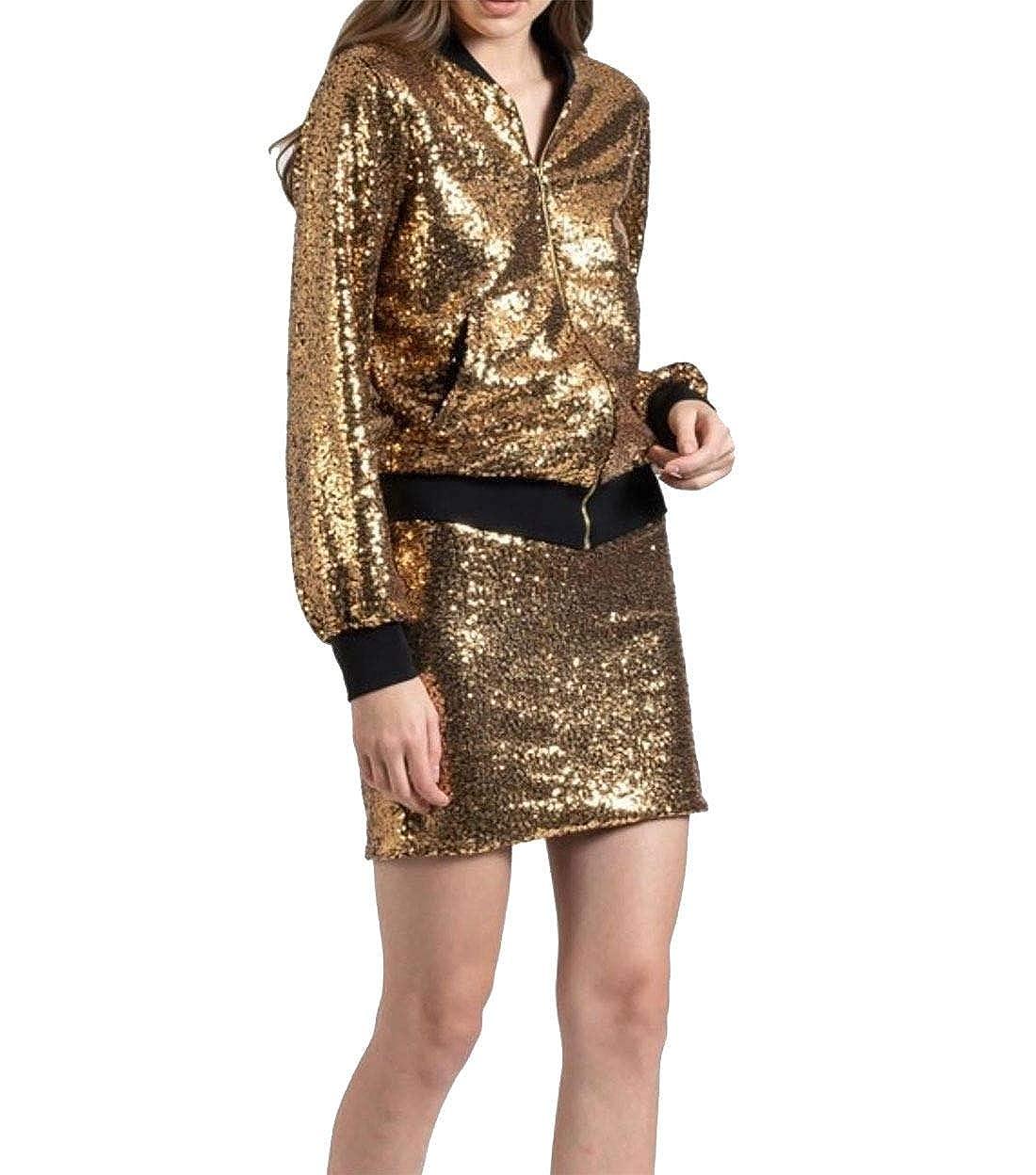Women Ladies Glitter Sequin Bomber Biker Festival Club Party Blazer Jacket Coat
