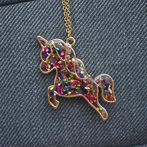 - Colored Gems Unicorn Pegasus Blue Glow In The Dark 18K Gold Plated Necklace 26