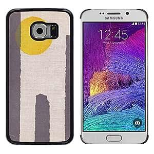 Cubierta protectora del caso de Shell Plástico || Samsung Galaxy S6 EDGE SM-G925 || Sun Yellow Grey Minimalist Desert @XPTECH