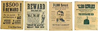 product image for Channel Craft Jesse James, Billy The Kid, Butch Cassidy & The Sundance Kid Wanted Posters Set