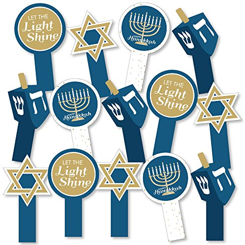 Big Dot of Happiness Happy Hanukkah - Chanukah Party Paddle Photo Booth Props - Selfie Photo Booth Props - Set of (Hanukkah Holiday Photo)