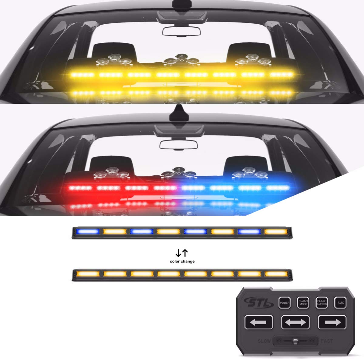 SpeedTech Lights Multicolor Striker TIR 8 Head LED Traffic Advisor Light Bar for Emergency Vehicles//Strobe Directional Warning Light Windshield Mount Red//Clear Alternating Amber