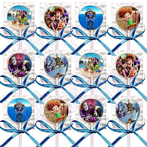 Hotel Transylvania 3 Lollipops Summer Vacation Party Favors Decorations Movie Lollipops w/ Blue Ribbon Bows Party Favors -12]()