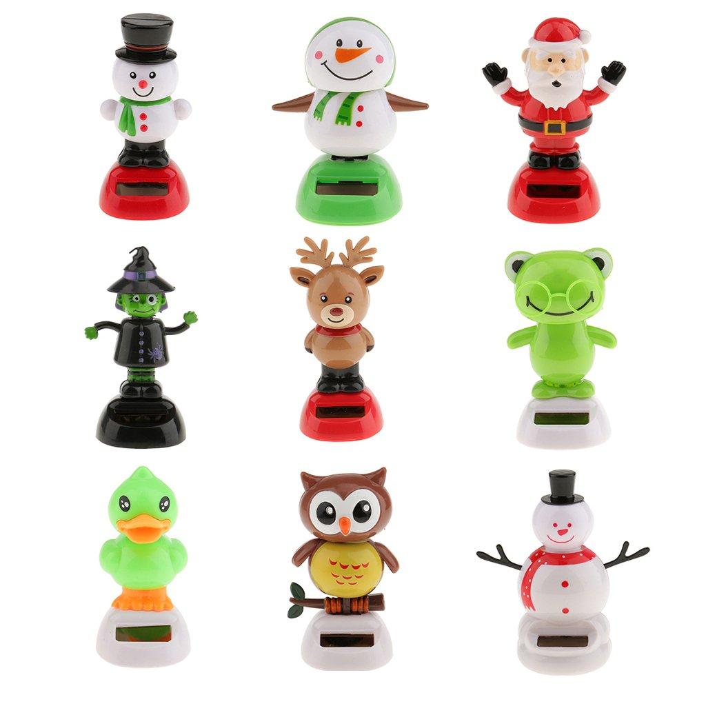 Sharplace 9pcs Figurine Animaux Snowman Père Noël Balancier à l'Energie Solaire Jeux éducatifs Cadeau Anniversaire Noël Fête