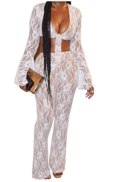 b78a6373f74 Amazon.com  YUNY Womens 2 Pieces Bowknot Sexy Mesh Long Sleeve Perspective  Lace Floral Jumpsuits  Clothing
