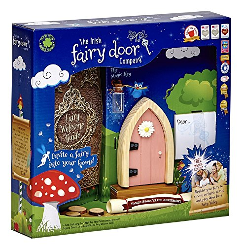 The Irish Fairy Door Company - Pink Arched Door - Includes Magic Key in a Bottle, 3 Stepping Stones, Fairy Lease Agreement, Notepad, and Fairy Welcome Guide