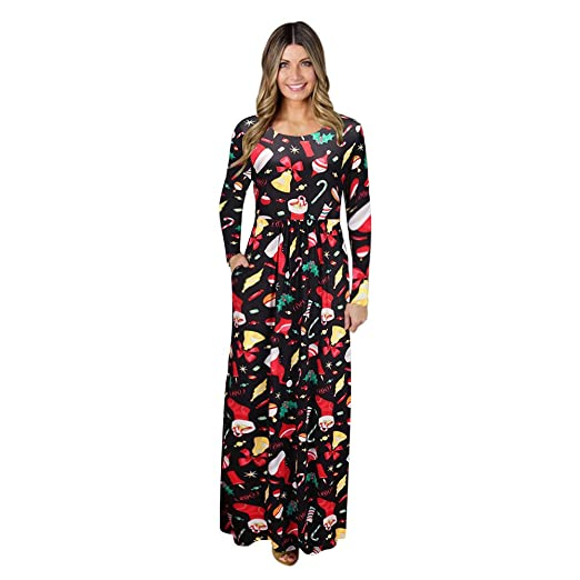 e96cee5693995 GOVOW Christmas Maxi Dresses for Women Plus Size with Sleeve Print Ladies  Evening Party Long Dress