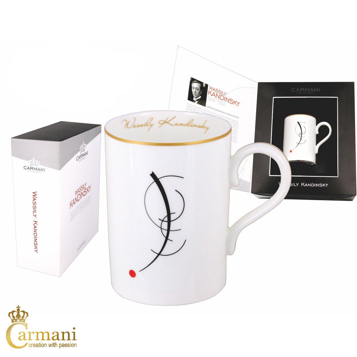 CARMANI - Tea Mug, Perfect Ceramic Fine Bone China Coffee Mugs with Wassily Kandinsky