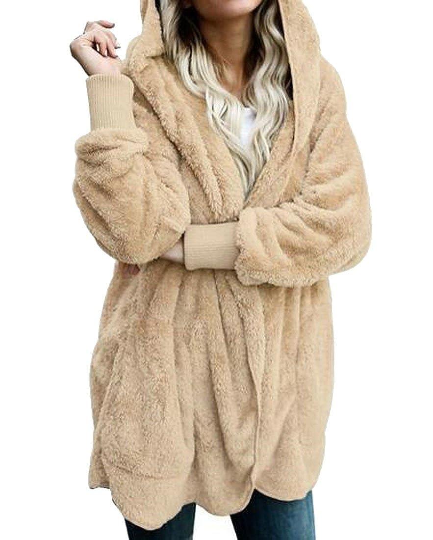 WAWAYA Women's Faux Fur Fluffy Warm Hoodie Long Sleeve Winter Cardigan Coat Outerwear