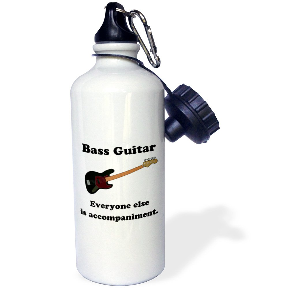 3dRose wb/_123064/_1 Bass Guitar Everyone Else is Just Accompaniment Sports Water Bottle 21 oz White