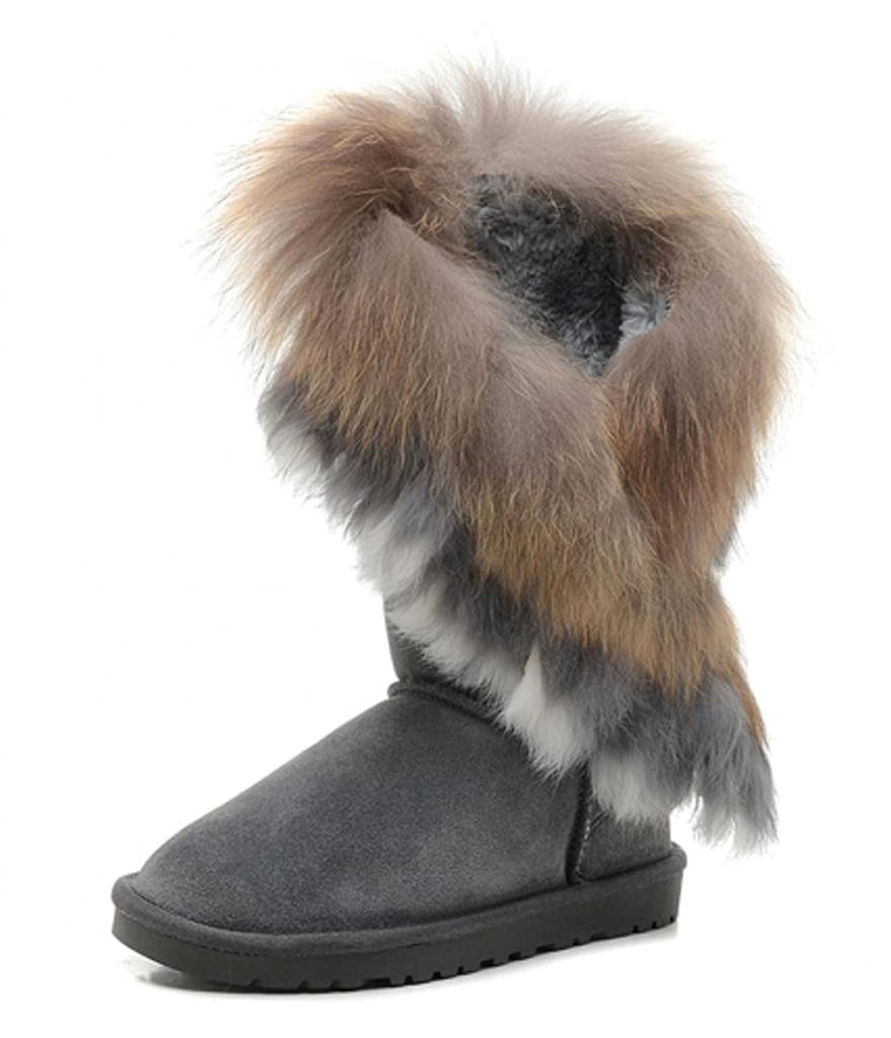 f2eb45fe745 outlet IVG Women's Indian Style Fox Fur Tall Boots and Short Boots ...