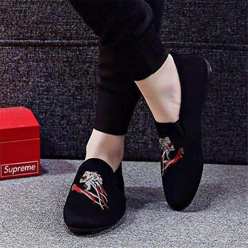 Mocasines Libre B Slip Novedad Otoño Carrera y Oficina Aire Negro Zapatos Paño Informal de Zapatos Hombre Caminar HUAN Al Rojo y de Primavera Ons Dividir Conjunta Para zwxW0g